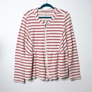 Free People | Striped Terry Peplum Jacket L